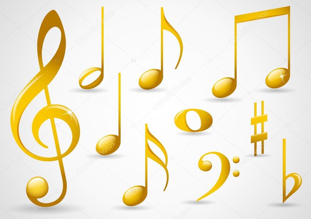 Gold music symbols