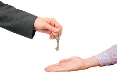 Man hand holds flat keys