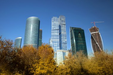 Modern skyscrapers in autumn time, Moscow