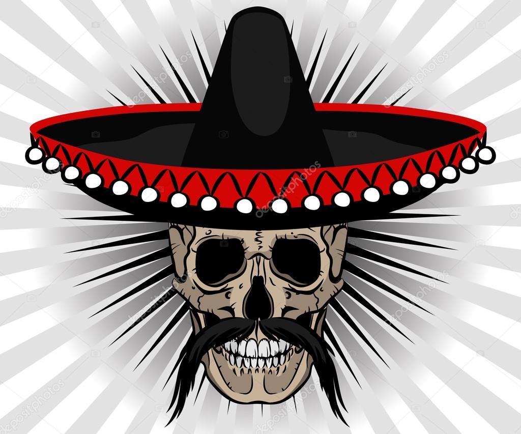Estilo Mexicano Calavera Con Sombrero Y Bigote Archivo Imágenes