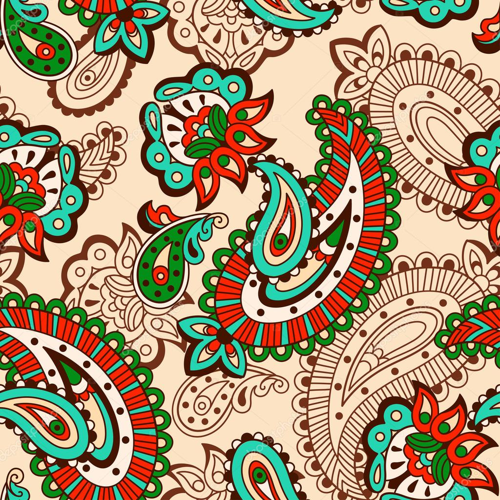 Turkish cucumber seamless pattern beige style