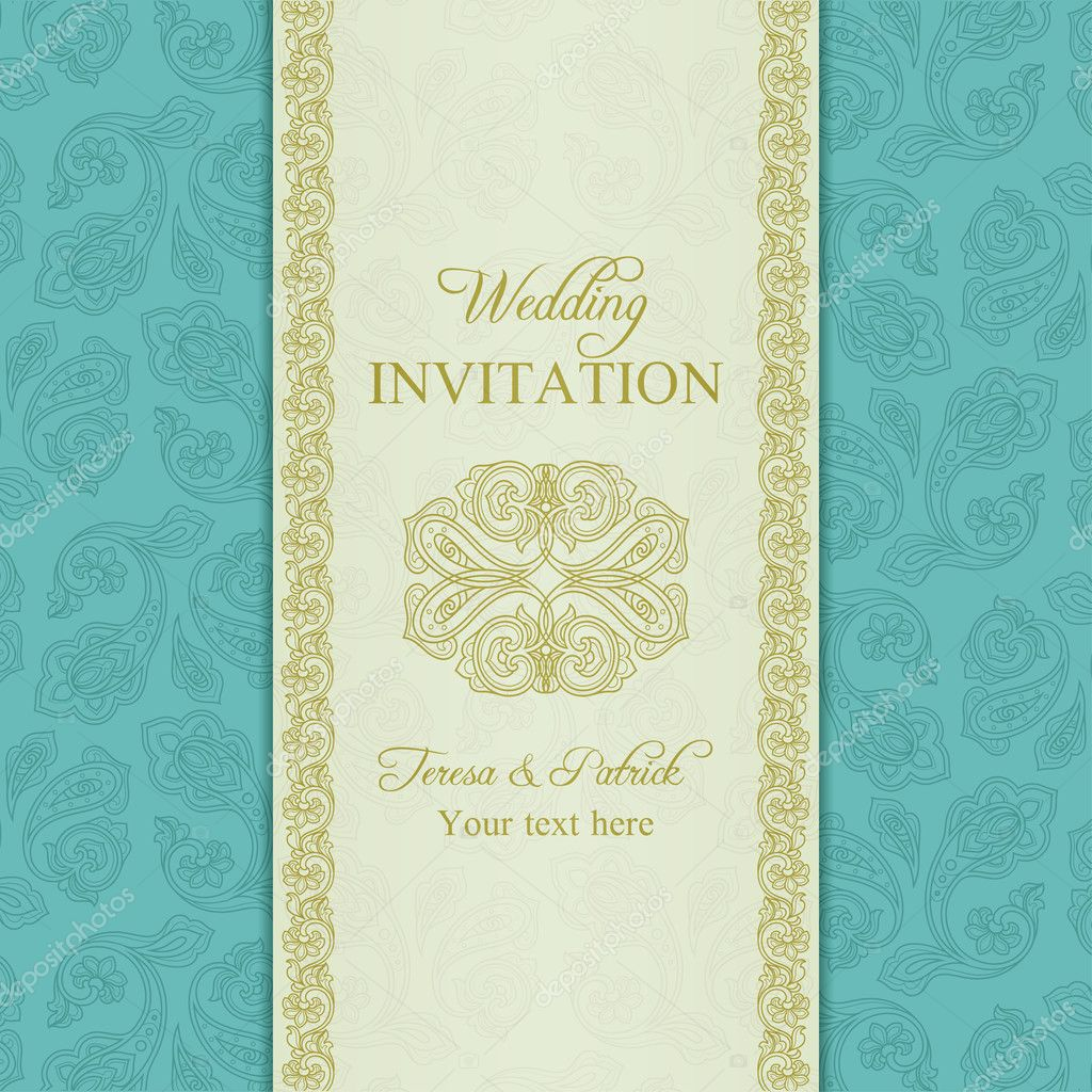 Turkish cucumber wedding invitation, gold and blue