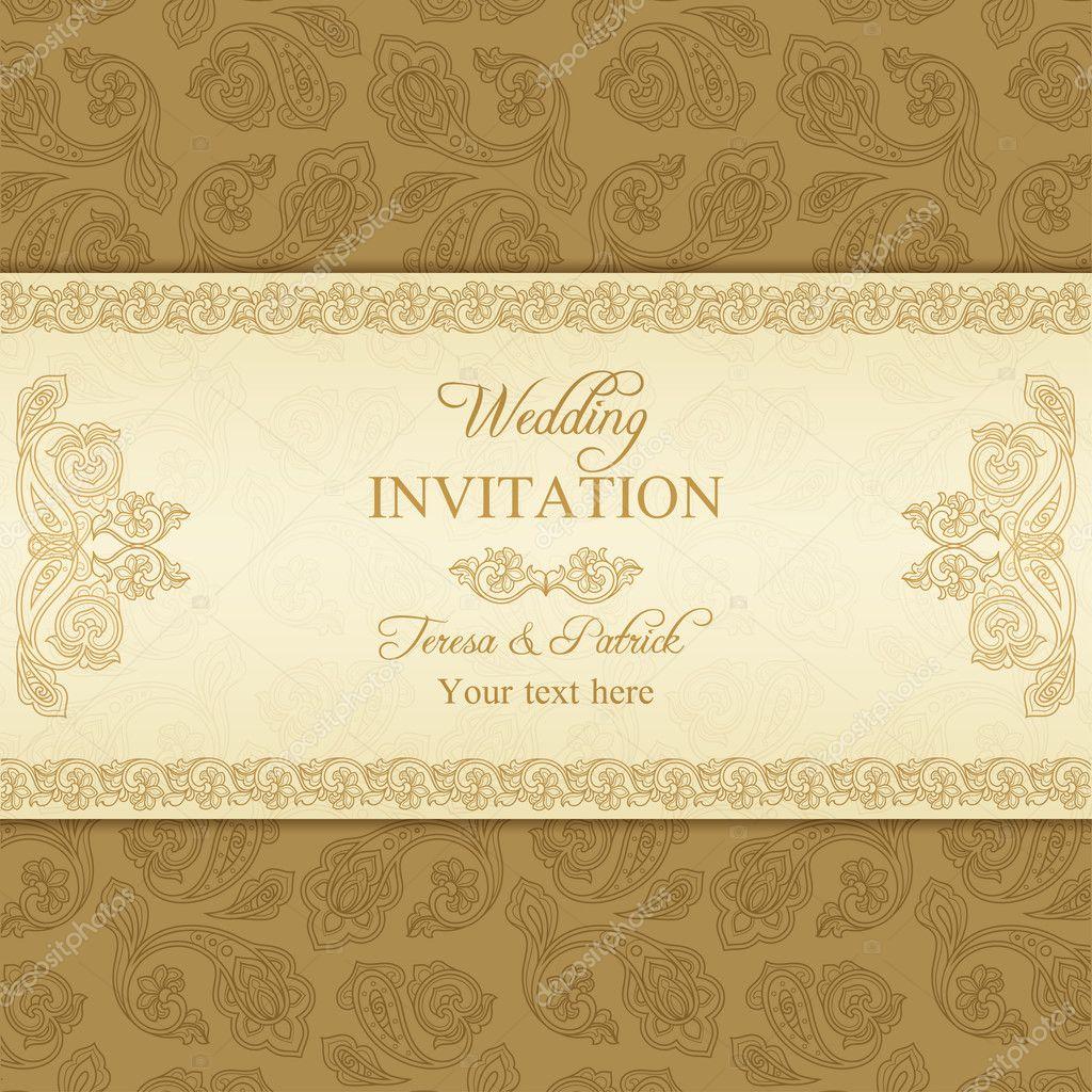 Antike Türkische Gurken, Hochzeit Einladung, Beige Und Gold Hintergrund U2014  Vektor Von D Naya