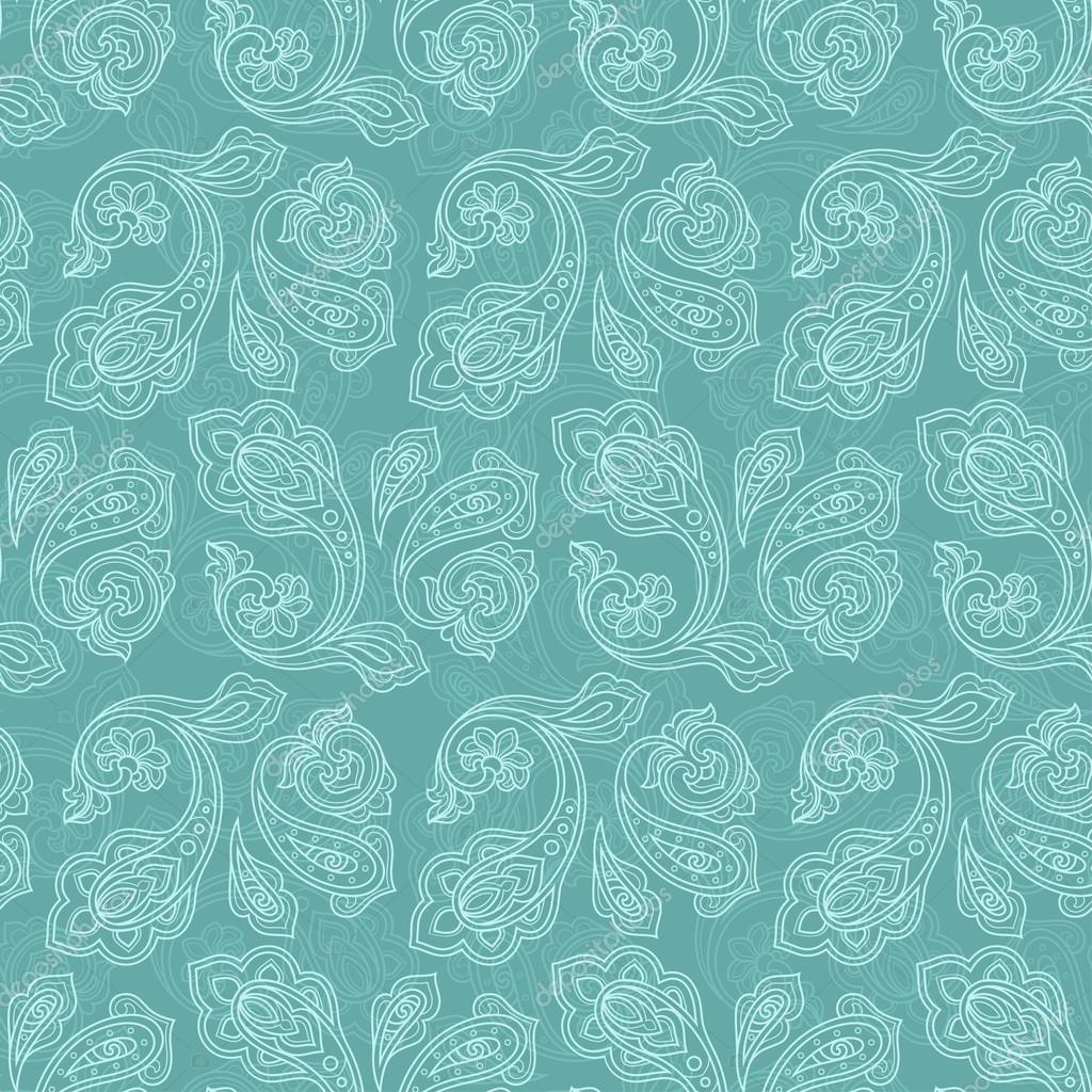 Turkish cucumber seamless pattern turquoise style