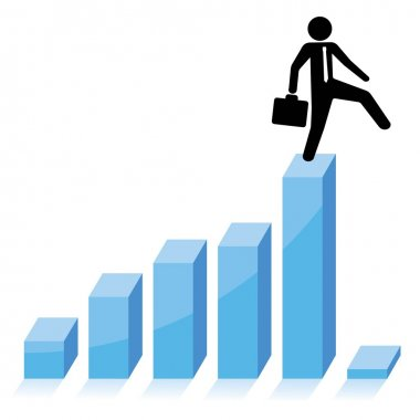 Businessman falling down from graphic chart