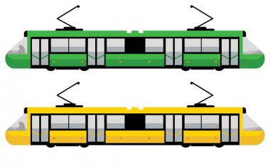 Modern tram, green and yellow color