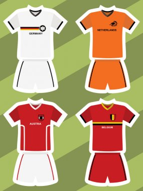 Set of abstract football jerseys, germany, netherlands, austria and belgium