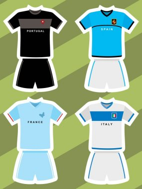 Set of abstract football jerseys, spain, italy, france and portugal