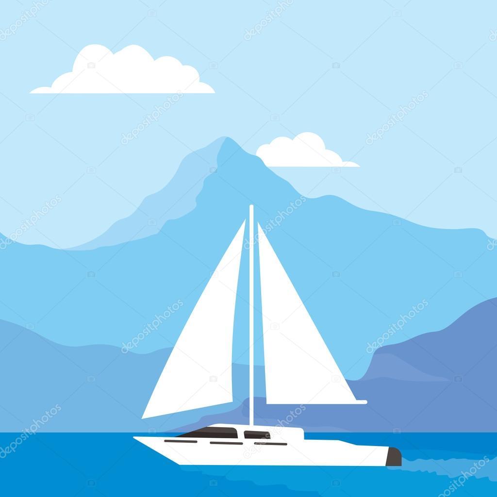 White sailboat at sea, beautiful background