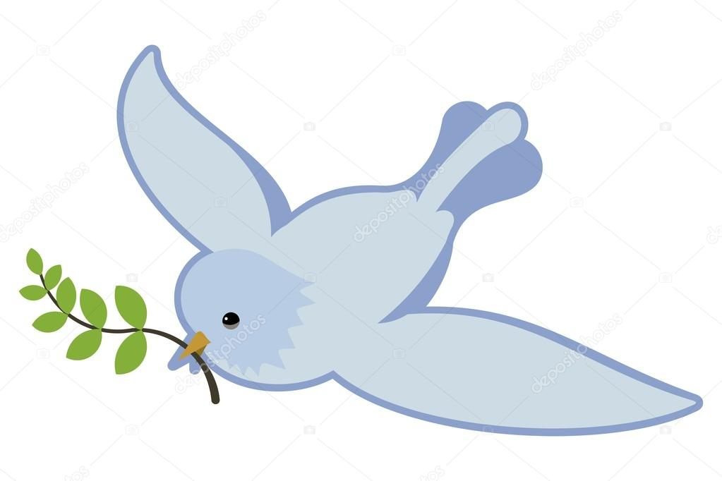 peace symbol dove in flight holding an olive branch stock vector 46884979
