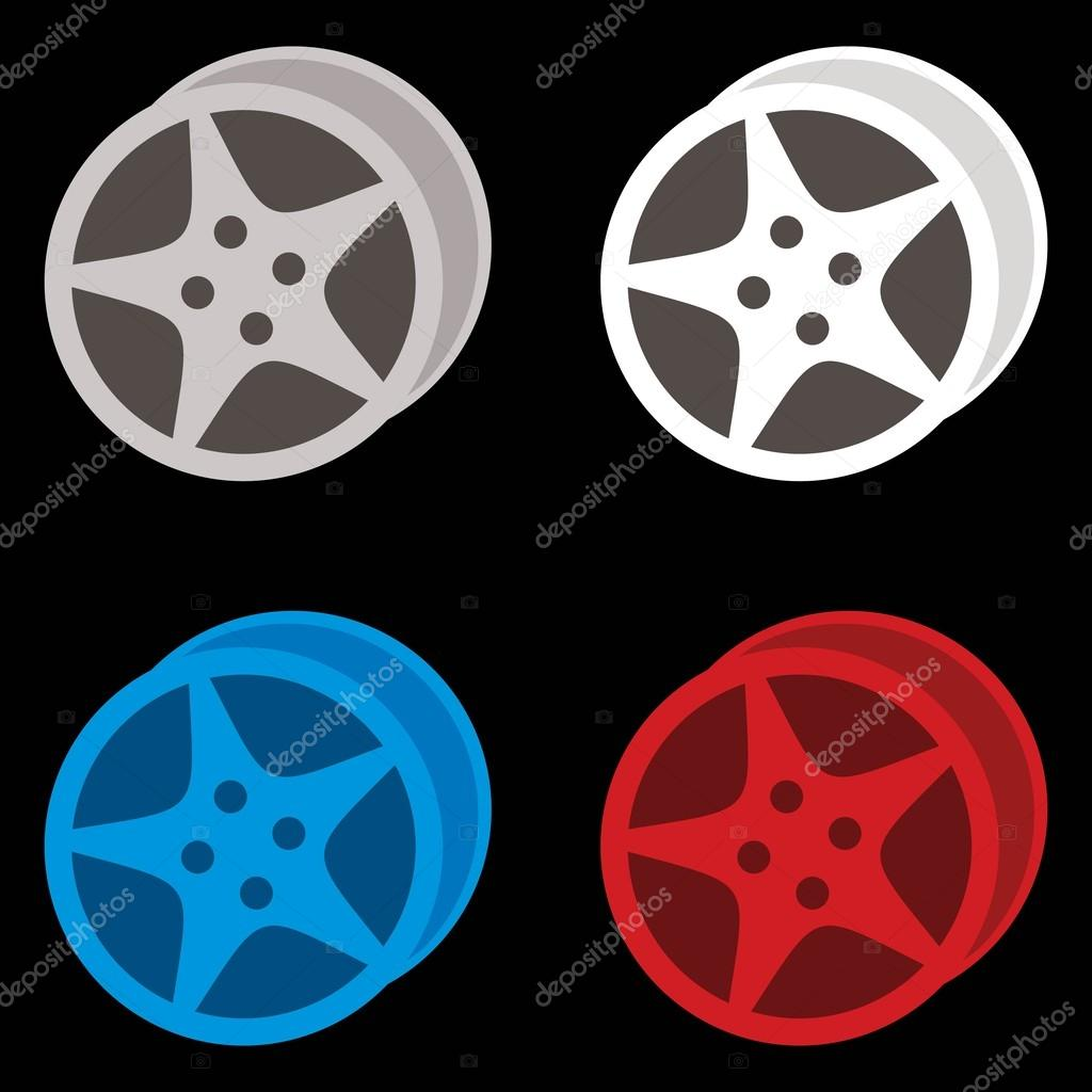 Wheels on black background, gray, white, blue and red color