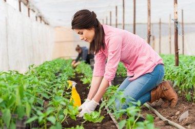 Young beautiful female garden worker