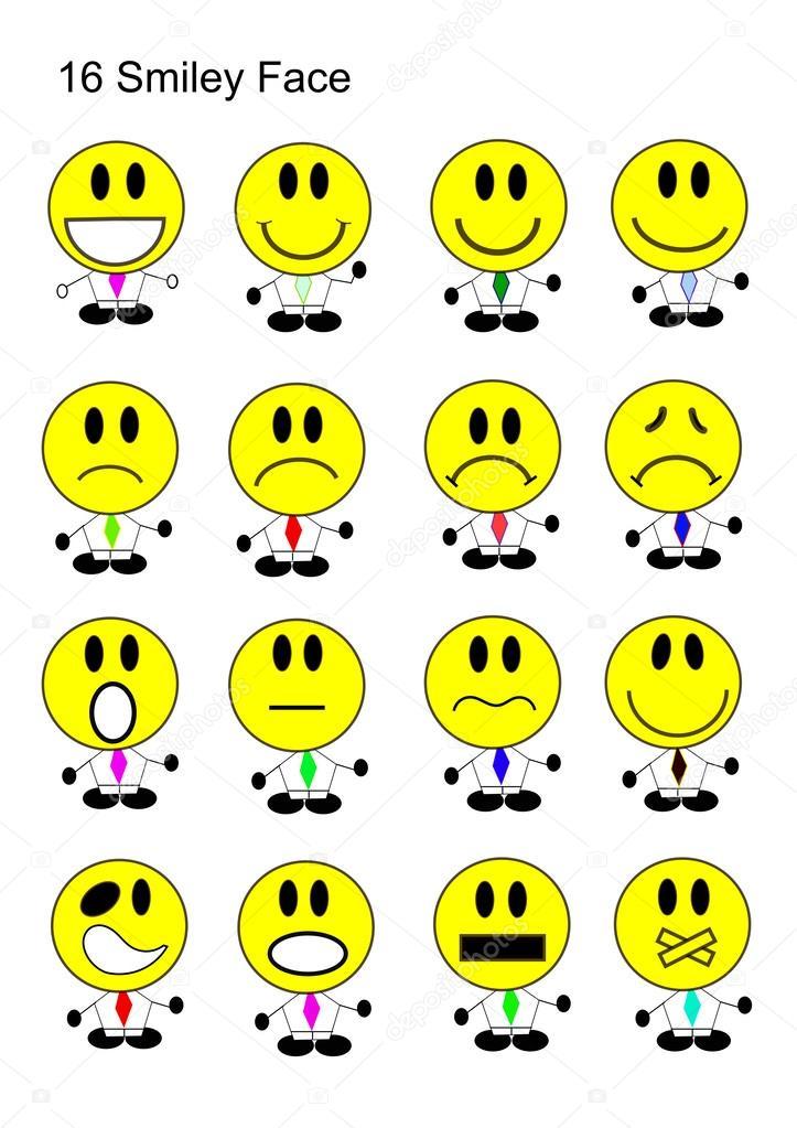 16 Smiley Face Icon Set