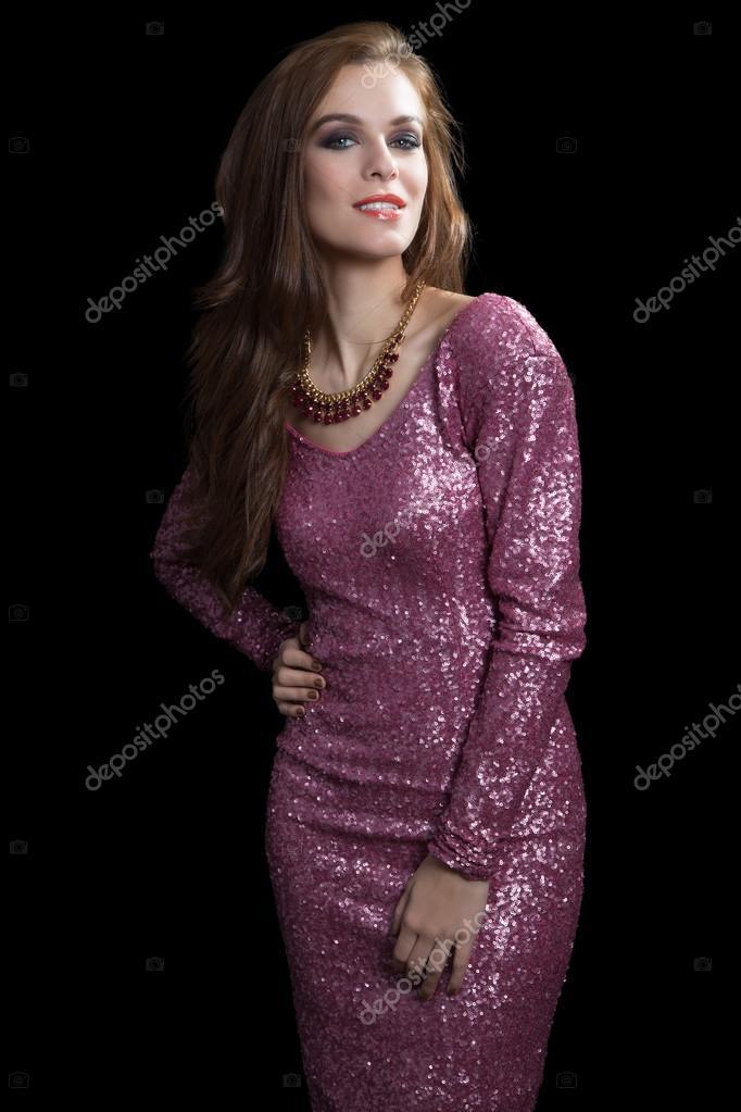 mujer atractiva en vestido de fiesta. Vogue — Foto de stock ...
