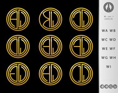 Monogram Design with letter W set