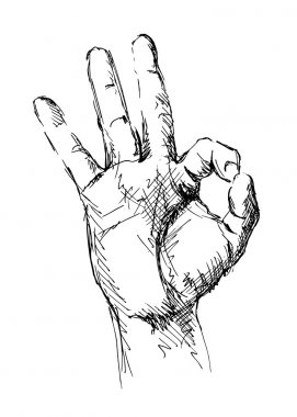 Drawing of hand with a gesture ok