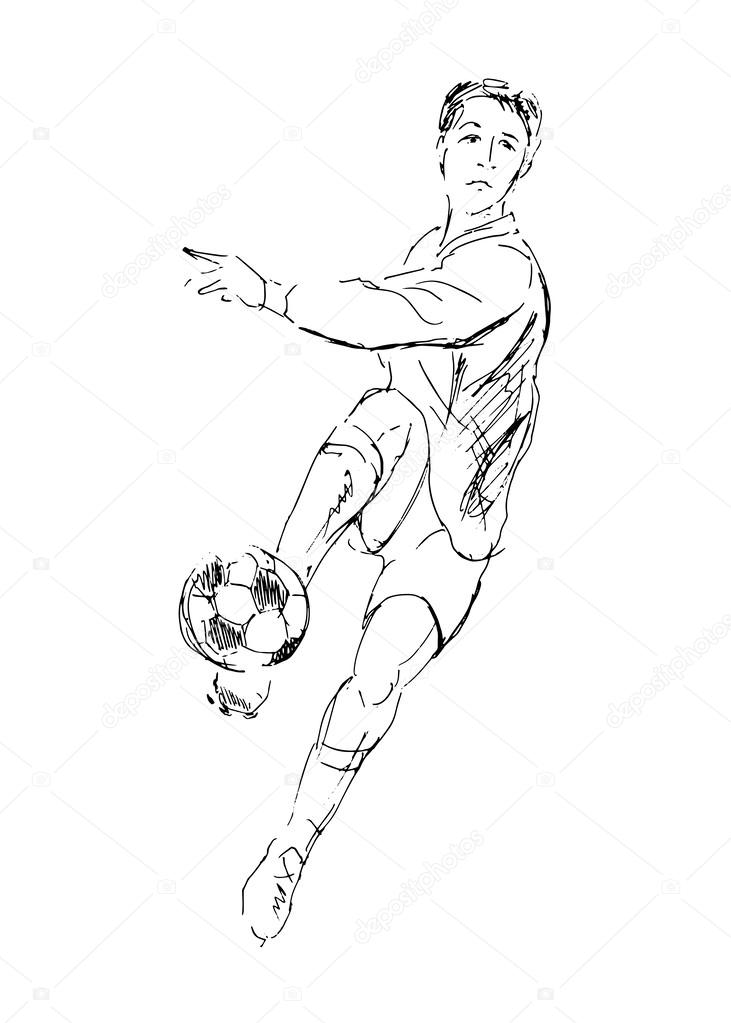 Zeichnen Einen Fussball Spieler Stockvektor C Onot 47629491
