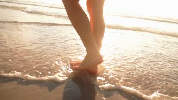 Girl walking in water