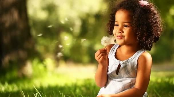 holčička foukání Pampeliška semena v parku