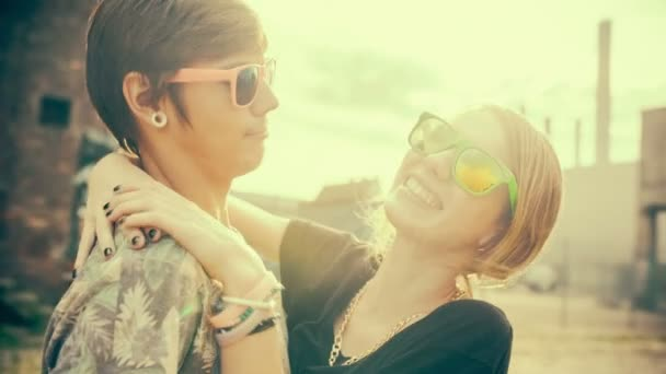 Boyfriend and girlfriend having fun in the sun