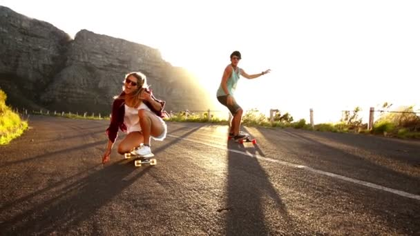 Friends longboard skating