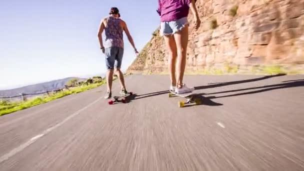 Couple on skateboard