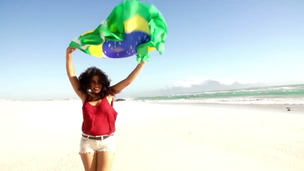Girl from brazil with brazilian flag