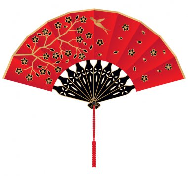 A Red Silk Chinese Fan