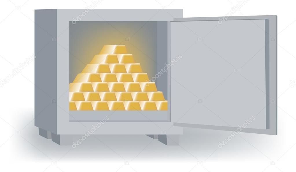 Open Safe with Pyramid of Gold Bars — Stock Vector