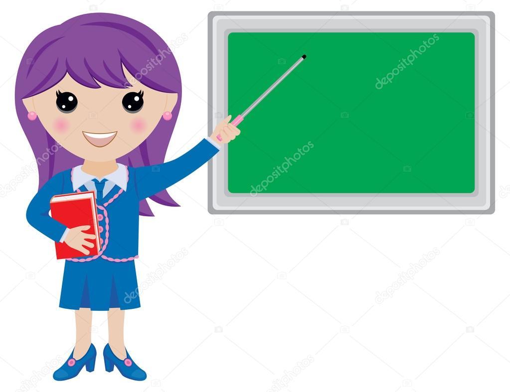 Enseignant De Kawaii Dessin Anime Avec Pointeur Et Tableau Noir