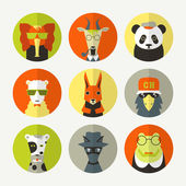 Fotografia set di avatar animali stilizzati
