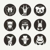 Fotografia set di avatar animali stilizzati per social network