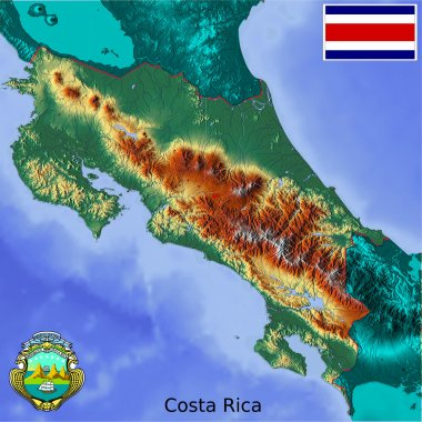 Costa Rica map flag coat