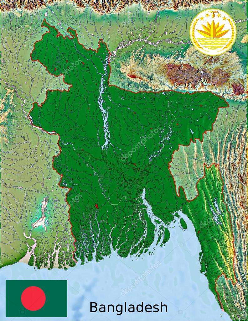 Bangladesh Map Flag Coat Stock JRTBurr