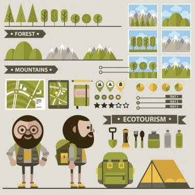 Set of ecotourism images .