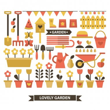 Set of flat icons gardening.