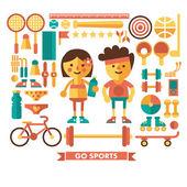 sada vektorové ikony sportu. postavy. ploché ikony