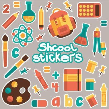 Set of stickers for the school theme. Flat design, vector.