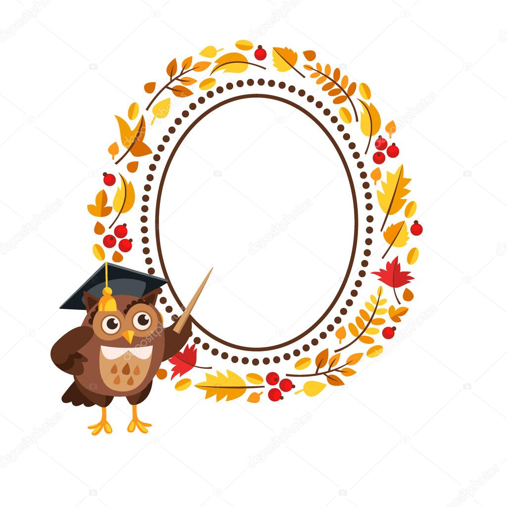 Character owl with frame of autumn leaves. — Stock Vector ...