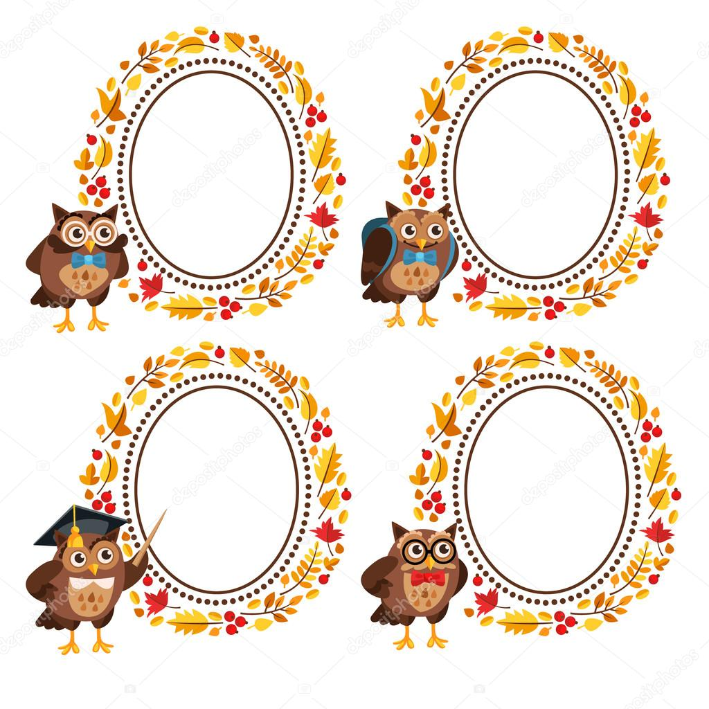 Set of frames from the leaves and owls.
