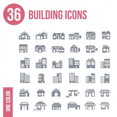 36 building icons set - one color stock vector