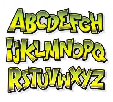 Cartoon comic font alphabet. Vector
