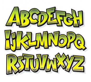 Cartoon comic font alphabet. Vector