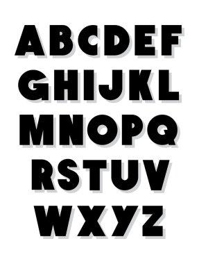 Bold alphabet font type. Vector alphabet