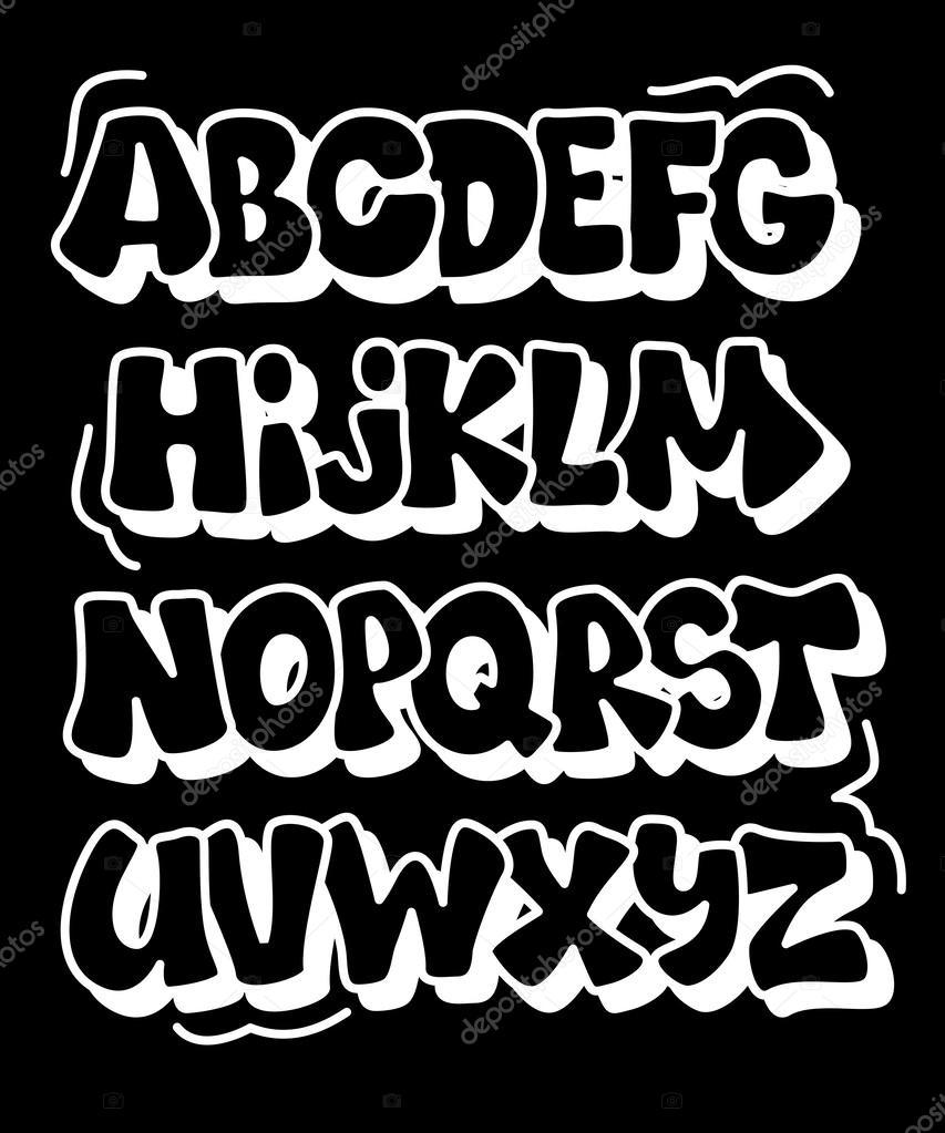 Excepcional Tebeos de graffiti estilo de tipo de letra. alfabeto vectorial  NV18