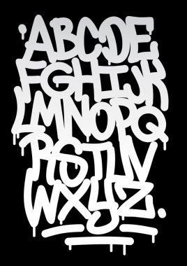 Hand written graffiti font alphabet. Vector