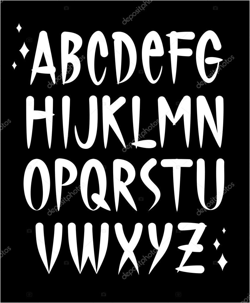Odręczny Tatuaż Styl Czcionki Alfabet Wektor Grafika