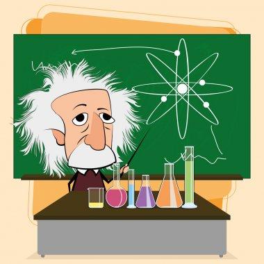 Albert Einstein Cartoon In A Classroom Scene