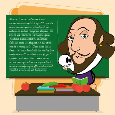 William Shakespeare Cartoon In A Classroom Scene