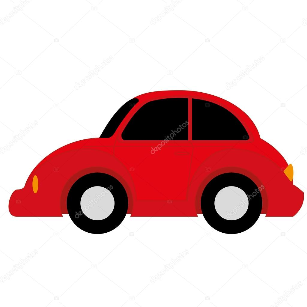 Vector Cartoon Simple Car On White Background Stock Vector